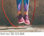 Купить «Woman with skipping rope.», фото № 26121664, снято 9 апреля 2017 г. (c) Константин Юганов / Фотобанк Лори