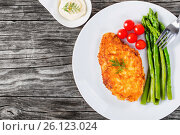 Купить «Meat chop fried in tempura with asparagus and cherry tomatoes», фото № 26123024, снято 11 октября 2015 г. (c) Oksana Zh / Фотобанк Лори