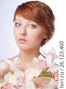 Beauty face of the young woman with flower, фото № 26123460, снято 10 февраля 2012 г. (c) Tatjana Romanova / Фотобанк Лори