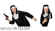 Купить «Nun with handgun isolated on white», фото № 26133924, снято 6 апреля 2014 г. (c) Elnur / Фотобанк Лори