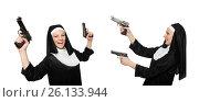 Купить «Nun with handgun isolated on white», фото № 26133944, снято 6 апреля 2014 г. (c) Elnur / Фотобанк Лори
