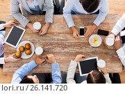 Купить «businesspeople with smartphones and tablet pc», фото № 26141720, снято 10 октября 2014 г. (c) Syda Productions / Фотобанк Лори
