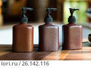 Купить «bottles with liquid soap or lotion at bathroom», фото № 26142116, снято 13 февраля 2015 г. (c) Syda Productions / Фотобанк Лори