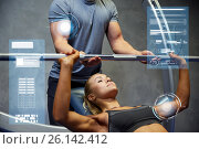 Купить «man and woman with barbell flexing muscles in gym», фото № 26142412, снято 19 апреля 2015 г. (c) Syda Productions / Фотобанк Лори