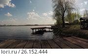 Купить «Bridge on the lake for fishing», видеоролик № 26152444, снято 2 мая 2017 г. (c) Потийко Сергей / Фотобанк Лори