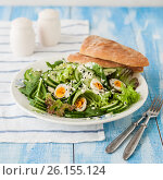 Купить «Quail Egg Salad with Curry Yogurt Dressing», фото № 26155124, снято 14 марта 2017 г. (c) Татьяна Ворона / Фотобанк Лори