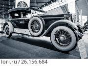 """Купить «STUTTGART, GERMANY - MARCH 02, 2017: Luxury car Mercedes-Benz 24/100/140 PS Fleetwood D / USA, 1924. Toning. Stylization. Europe's greatest classic car exhibition """"RETRO CLASSICS""""», фото № 26156684, снято 2 марта 2017 г. (c) Sergey Kohl / Фотобанк Лори"""