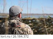 Купить «Охотник смотрит в даль», эксклюзивное фото № 26184372, снято 13 сентября 2016 г. (c) Вероника / Фотобанк Лори