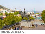 Купить «Памятник Вахтангу Горгасали. Тбилиси, Грузия», фото № 26186372, снято 29 апреля 2017 г. (c) Сергей Афанасьев / Фотобанк Лори