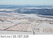 Купить «Город Дюртюли, Башкирия зимой. Вид сверху», эксклюзивное фото № 26187328, снято 4 февраля 2017 г. (c) Владимир Мельников / Фотобанк Лори