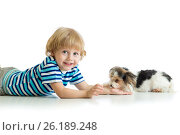 Купить «Friendship between child and cute dog Yorkie terrier», фото № 26189248, снято 23 апреля 2017 г. (c) Оксана Кузьмина / Фотобанк Лори