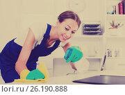 Купить «woman maid in office», фото № 26190888, снято 19 февраля 2019 г. (c) Яков Филимонов / Фотобанк Лори