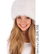 Attractive girl wearing white fur hat, фото № 26208108, снято 20 июля 2012 г. (c) Tatjana Romanova / Фотобанк Лори