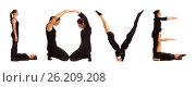 Black dressed people forming word LOVE, фото № 26209208, снято 30 июля 2012 г. (c) Tatjana Romanova / Фотобанк Лори