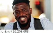 face of happy smiling afro american man, видеоролик № 26209608, снято 25 сентября 2017 г. (c) Syda Productions / Фотобанк Лори