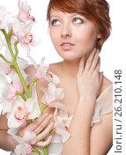 Beautiful young beautiful woman with orchid, фото № 26210148, снято 10 февраля 2012 г. (c) Tatjana Romanova / Фотобанк Лори