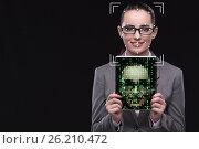 Купить «The woman in face recognition concept», фото № 26210472, снято 1 апреля 2019 г. (c) Elnur / Фотобанк Лори