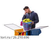 Купить «The husband man doing laundry isolated on white», фото № 26210696, снято 6 марта 2017 г. (c) Elnur / Фотобанк Лори