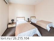 Купить «The twin room in modern hotel», фото № 26215104, снято 3 мая 2017 г. (c) Elnur / Фотобанк Лори