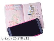 Купить «Телефон, российский паспорт с визами разных стран и сим карты. Изолировано на белом фоне», фото № 26218212, снято 9 мая 2017 г. (c) Ирина Кожемякина / Фотобанк Лори