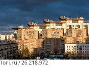 Группа высотных красочных жилых квартир. Современный город. Москва, Югозападная. Стоковое фото, фотограф Малахов Алексей / Фотобанк Лори