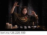 Купить «Young woman with divination cards in room», фото № 26220100, снято 5 марта 2017 г. (c) Майя Крученкова / Фотобанк Лори