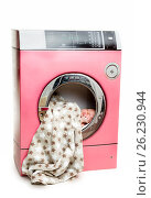 Купить «Portrait of an newborn in a washing machine», фото № 26230944, снято 5 июня 2020 г. (c) Игорь Бородин / Фотобанк Лори