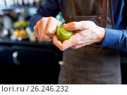 Купить «bartender removing peel from lime at bar», фото № 26246232, снято 7 февраля 2017 г. (c) Syda Productions / Фотобанк Лори