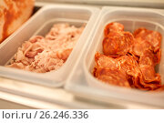 Купить «containers with ham and salami at restaurant», фото № 26246336, снято 17 февраля 2017 г. (c) Syda Productions / Фотобанк Лори