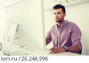 Купить «creative man or student with computer at office», фото № 26246996, снято 27 февраля 2016 г. (c) Syda Productions / Фотобанк Лори
