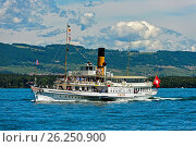 Купить «Paddle wheel steamer Simplon on Lake Geneva, Geneva, Switzerland.», фото № 26250900, снято 13 июня 2015 г. (c) age Fotostock / Фотобанк Лори