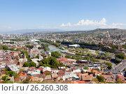 Купить «Панорама Тбилиси с высоты. Грузия», фото № 26260308, снято 1 мая 2017 г. (c) Сергей Афанасьев / Фотобанк Лори