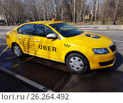 Купить «New yellow taxi with Uber logo», фото № 26264492, снято 11 апреля 2017 г. (c) Антон Гвоздиков / Фотобанк Лори