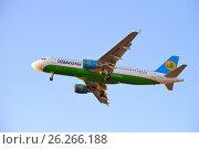 Купить «Самолёт Airbus A320 UK32014 авиакомпании UZBEKISTAN взлетает в голубом небе в лучах солнца», фото № 26266188, снято 13 мая 2017 г. (c) Максим Мицун / Фотобанк Лори