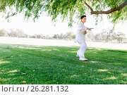 Купить «Handsome man practicing thai chi», фото № 26281132, снято 19 декабря 2014 г. (c) Sergey Nivens / Фотобанк Лори