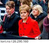 Купить «Nicola Sturgeon, Scotland's First Minister joins thousands on a march towards Trafalgar Square for a CND rally against the UK's ownership of nuclear weapons...», фото № 26290160, снято 27 февраля 2016 г. (c) age Fotostock / Фотобанк Лори
