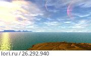 Купить «Чужая планета. Скалы и озеро. Анимация», видеоролик № 26292940, снято 16 мая 2017 г. (c) Parmenov Pavel / Фотобанк Лори