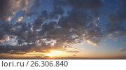 Купить «Sunset sky panorama background», фото № 26306840, снято 22 сентября 2018 г. (c) Юрий Брыкайло / Фотобанк Лори