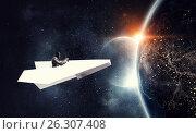 Купить «Aviator in origami plane. Mixed media», фото № 26307408, снято 23 июля 2018 г. (c) Sergey Nivens / Фотобанк Лори