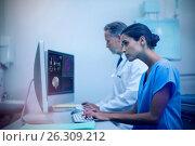 Купить «Composite image of human brain with various medical reports», фото № 26309212, снято 19 июля 2018 г. (c) Wavebreak Media / Фотобанк Лори