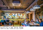 Купить «Интерьер хинкальни на улице Мытной, 1с1, Москва», эксклюзивное фото № 26313184, снято 14 мая 2017 г. (c) Виктор Тараканов / Фотобанк Лори