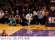 Купить «Celebrities spotted at the Lakers game. The Los Angeles Lakers defeated the Golden State Warriors by the final score of 112-95 at Staples Center Featuring...», фото № 26315428, снято 7 марта 2016 г. (c) age Fotostock / Фотобанк Лори