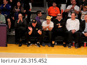 Купить «Celebrities spotted at the Lakers game. The Los Angeles Lakers defeated the Golden State Warriors by the final score of 112-95 at Staples Center Featuring...», фото № 26315452, снято 7 марта 2016 г. (c) age Fotostock / Фотобанк Лори