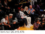 Купить «Celebrities spotted at the Lakers game. The Los Angeles Lakers defeated the Golden State Warriors by the final score of 112-95 at Staples Center Featuring...», фото № 26315476, снято 7 марта 2016 г. (c) age Fotostock / Фотобанк Лори