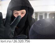 Купить «Criminal man exposed blocking camera», фото № 26320756, снято 23 октября 2018 г. (c) Wavebreak Media / Фотобанк Лори