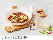Купить «Tomato and Coconut Milk Fish Stew», фото № 26322464, снято 18 мая 2017 г. (c) Татьяна Ворона / Фотобанк Лори