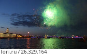 Купить «Firework.Rostral columns,Palace bridge,Peter and Paul fortress. Saint-Petersburg», видеоролик № 26329164, снято 9 мая 2016 г. (c) Ирина Мойсеева / Фотобанк Лори