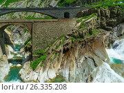 Купить «Вид на Чертов мост, Андерматт, Швейцария», фото № 26335208, снято 19 июня 2014 г. (c) Игорь Овсянников / Фотобанк Лори