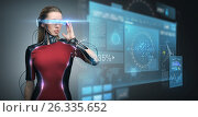 Купить «woman in virtual reality glasses and microchip», фото № 26335652, снято 17 ноября 2012 г. (c) Syda Productions / Фотобанк Лори