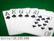 Купить «poker hand of playing cards on green casino cloth», фото № 26335948, снято 15 марта 2017 г. (c) Syda Productions / Фотобанк Лори